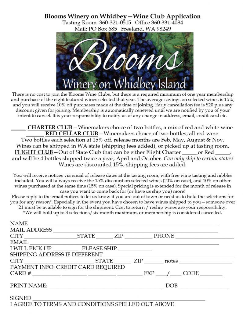 Wine Club – Blooms Winery on Whidbey Island
